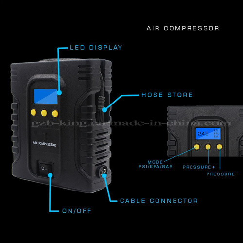 Portable Digital Tire Inflator - DC 12V Car Electric Air Compressor Pump with Light pictures & photos