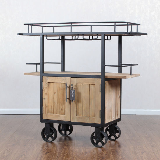 Rustic Movable Rolling Reclaimed Wood Kitchen Cart Island With Wheels