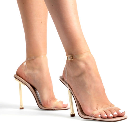Fashion Ladies Shoes Ankle Strap Adjustable Buckle Clear High Heel Open Toe Sandal Dress Shoes