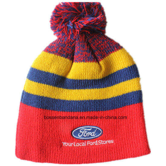 869490fa25998 Customized Logo Embroidered Acrylic Wool Winter Ski Sports Warm Knitted  Beanie Hat pictures   photos