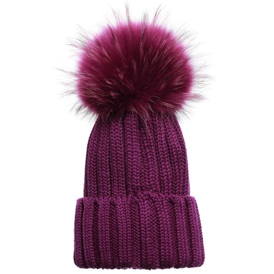 7cf42983f338 China Factory Ladies Knitted Winter Fur POM POM Beanie Hats - China ...
