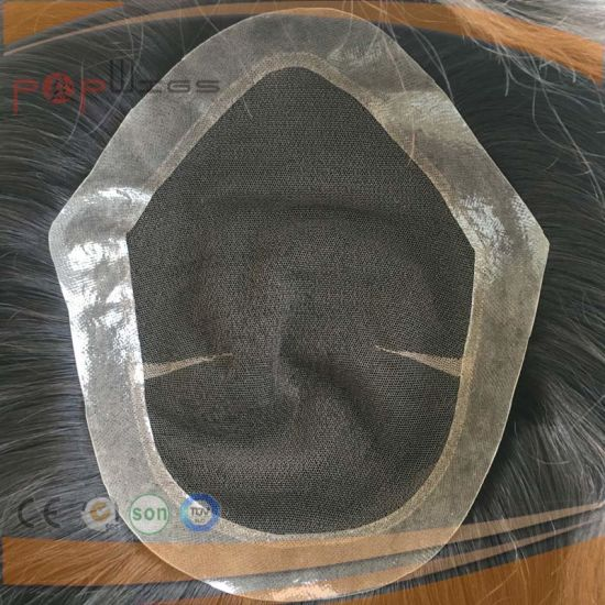 Full Lace PU Edge Border Human Hair Toupee (PPG-l-01882) pictures & photos