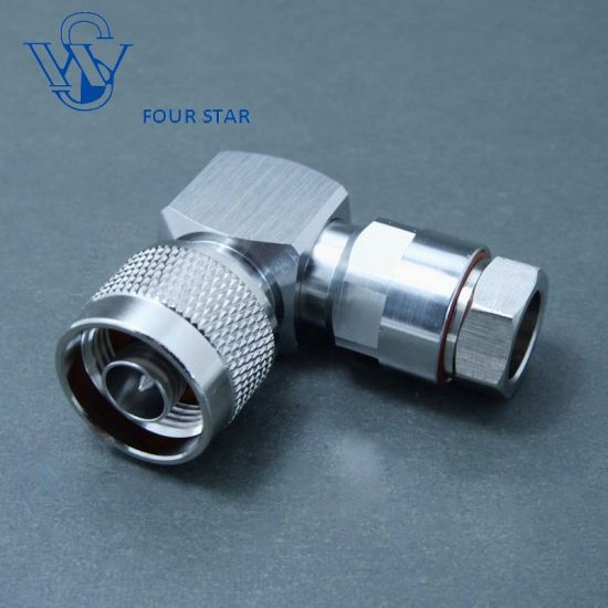 """RF Coaxial Male Plug Right Angle N Connector for 1/4 """" Foam Feeder Cable"""