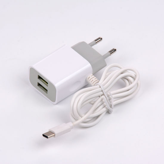 Dual Port USB Travel Charger with Built-in Type C Cable