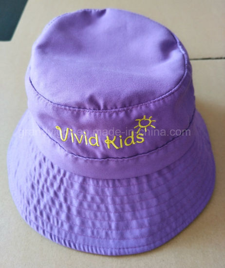 eba5ba051d6 China Broad Brim Cotton Bucket Hat for Children with Elastic Straps ...