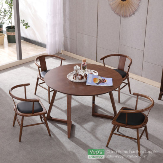 china solid wood round dining table with walnut veneer dining