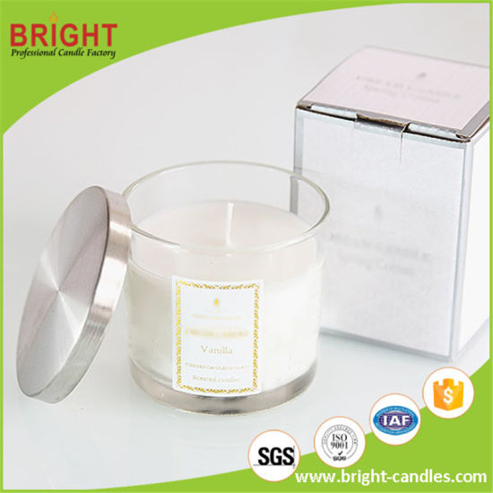China Factory Luxury Soy Wax Candles Scented with Customized Glass Jar