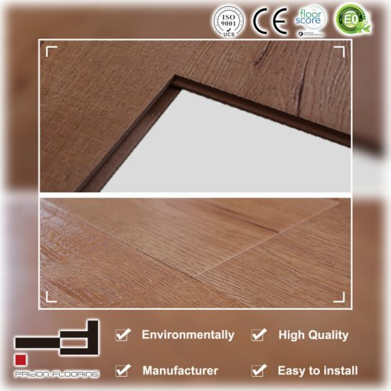 12mm Oak Gold 1-Stripe Eir Sparking Surface Presses Bevelled American Style Laminate Flooring pictures & photos