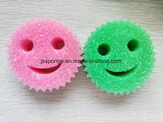 Colorful Smile Face Shape Polyester Sponge Scrubber