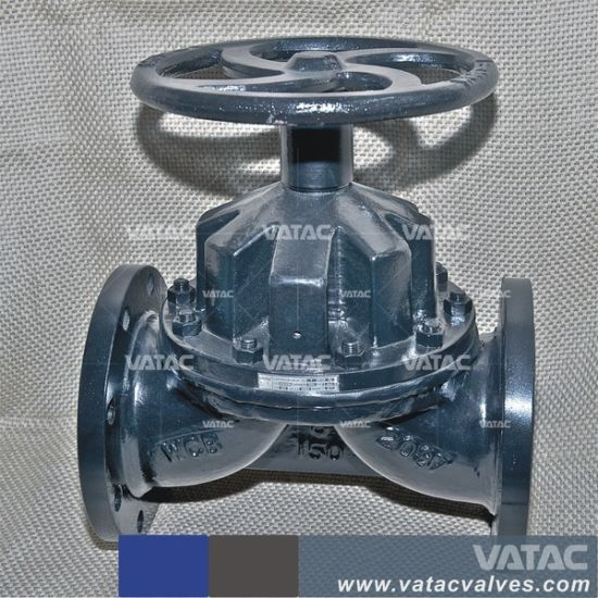 Flanged Flat Face Pneumatic Actuated&Handwheel Cast Iron Pn10&Pn16 Diaphragm Valve pictures & photos