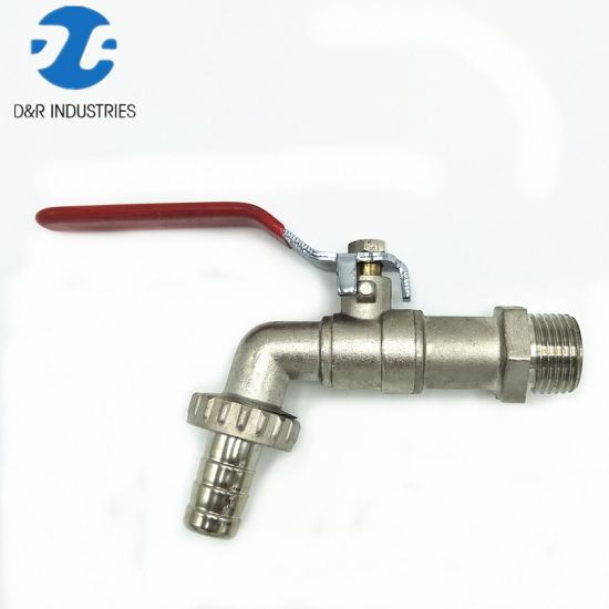 Nickel Plating Brass Bibcock Tap with Red Handle, Water Tap Bibcock