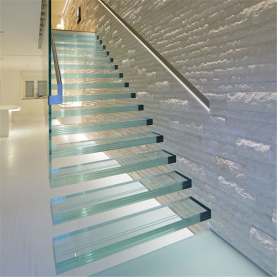 L Shaped Non Slip Laminated Glass Panels Tempered Glass Floating Staircase