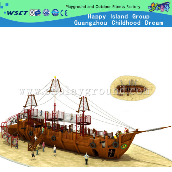Amusement Park Wooden Pirate Ship Playground with Slide and Large Size Climber (HF-5401)