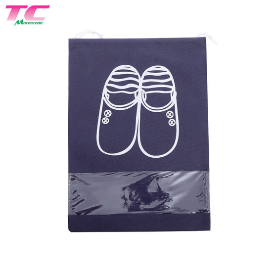 Pack of 10 Non-Woven Dust-Proof Dual Drawstring Shoe Bags Organizer with Clear x