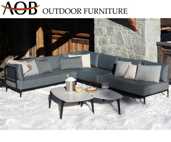 Modern Outdoor Garden Living Room Hotel Poolside Leisure Fabric Corner Lounge Sofa Furniture