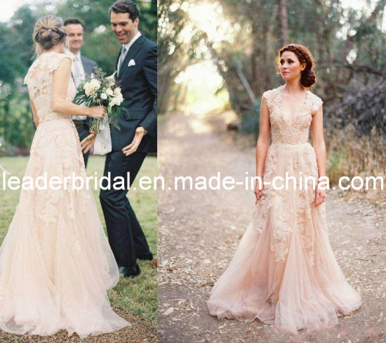China blush pink bridal formal gown lace bodice wedding dress b14715 blush pink bridal formal gown lace bodice wedding dress b14715 junglespirit Gallery