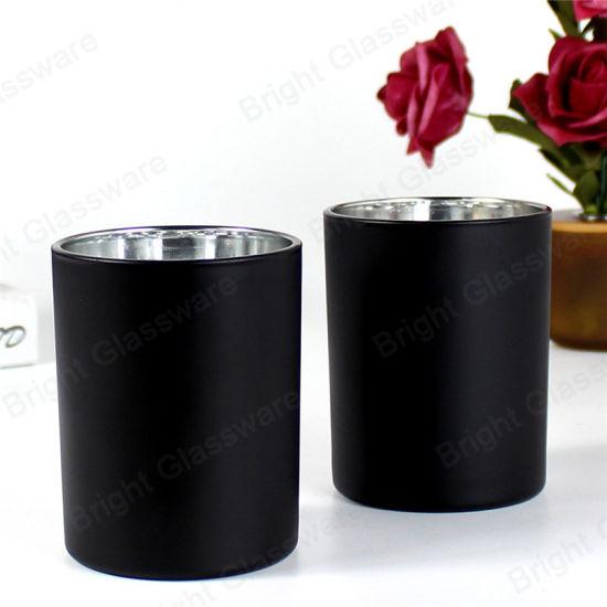 High Quality Luxury 8oz Matte Black Glass Candle Jar