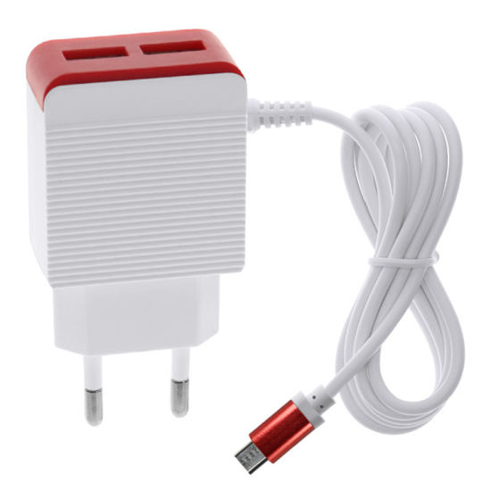 1A/2.1A/2.4A Mobile Phone Travel Fast Charger with 1m Charging Cable