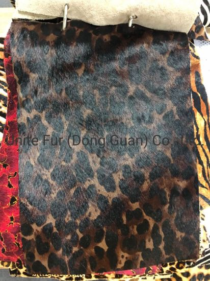 Dark Brwon Horse Hair Spotted Pattern Hair Calf Cow Hides Genuine Leather for Shoes, Bags and Furnitures