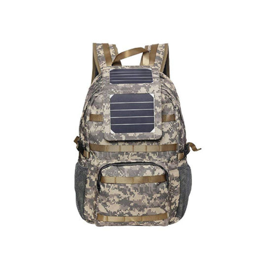 Solar Backpack with Removable 5 Watt Solar Panel Military Print/Camouflage 5V USB Output to Charge Smartphones, Powerbanks, Tablets, GPS, and Other USB
