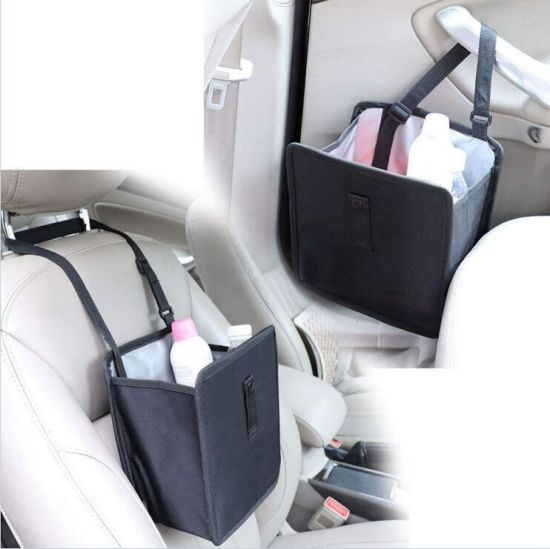 Foldable Car Garbage Can Patented Car Wastebasket Comfortable Multifuntional Artificial Leather and Oxford Clothes Car Organizer Enough Storage for Garbage