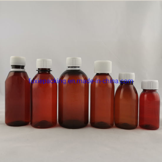 Amber Pet Maple Plastic Syrup Medicine Bottle 100ml