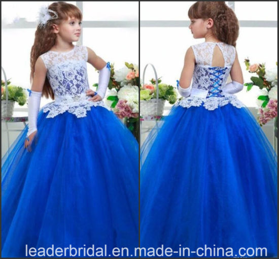c02bcbf9eb58 China Blue Lace Tulle Junior Princess Flower Girls Dresses Z6008 ...