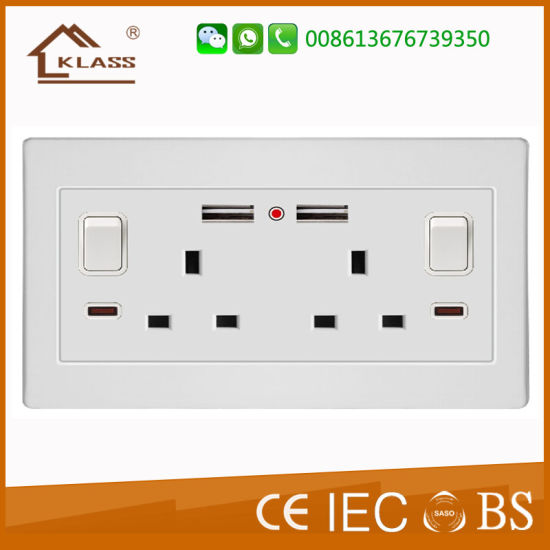 2g Uk 13a Wall Switch Socket With Dual Usb Outlet