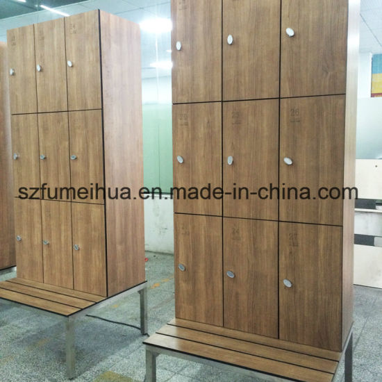 Portugal Wood HPL Laminate Gym / Fitness Center Storage Lockers With  Sitting Bench