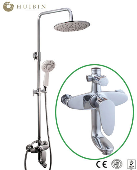 Factory Supply Shower System, Chromed Shower Set with Tub Spout and Rain Shower Head Wall Mounted