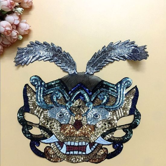 High Difficulty Sequin Hot Cut Embroidery Patch for Garment Clothing
