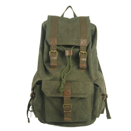 Khaki Canvas Student School Backpack with Many Pocket (RS-2080B) pictures & photos