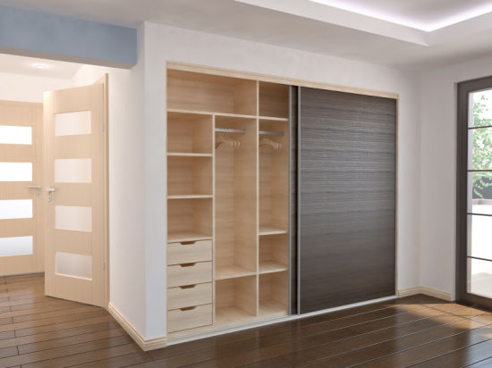 Clear Sliding Wardrobe With Interior Drawers
