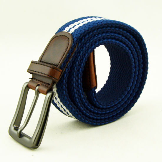 2br25 Two-Color Mixed Rope Braided Belt Male with PU Leather Ending