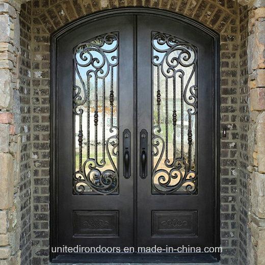 Factory Direct Eyebrow Top Wrought Iron Door (UID-D037)