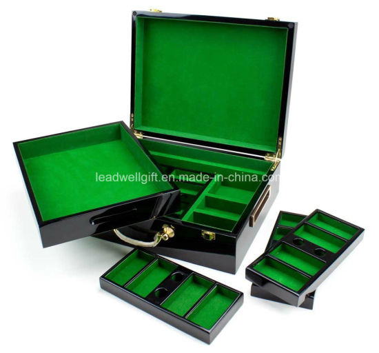 High Gloss Wooden 500 Piece Poker Chip Case pictures & photos
