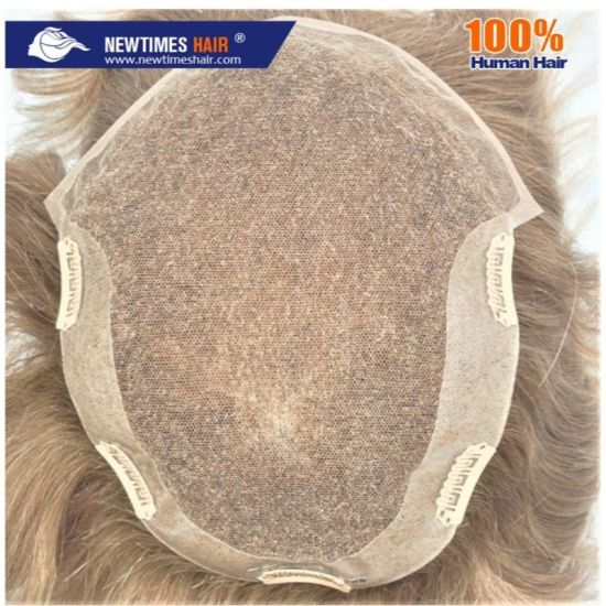 Swiss Lace with Clear PU Back Sides and Clips High Quality Human Hair Toupee pictures & photos