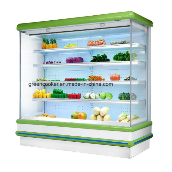 Commercial Open Air Cooler Refrigerator Meat Vegetable Display Chiller For Supermarket