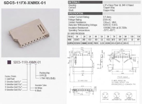SD Memory Card, SIM Card, T-Flash Card, Push Push Card Connector Socket pictures & photos