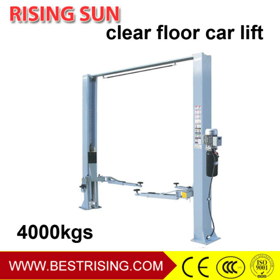 Two Post Clear Floor Car Lift with Manual Unlock