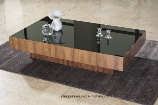 China Black Printed Table Glass for Living Room Furniture ...