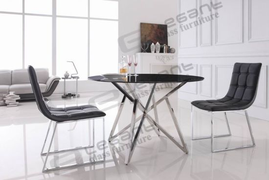 Round Grey Tempered Glass Dining Table On Polished Stainless Steel Base