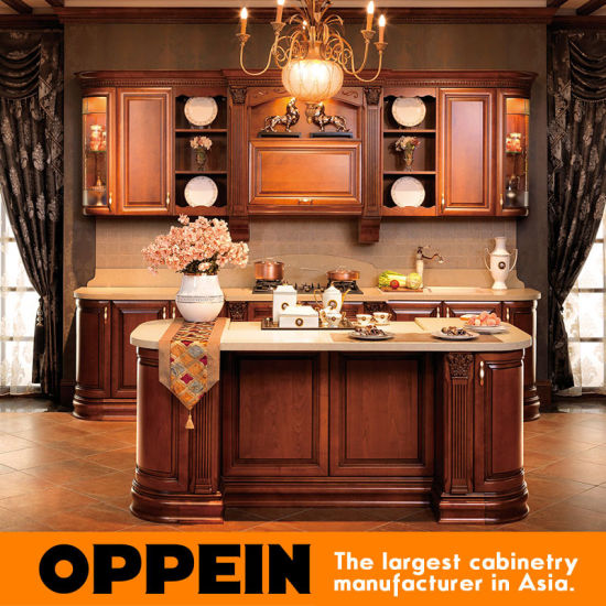 China Italy Birch Luxury Solid Wood Kitchen Cabinets With Island