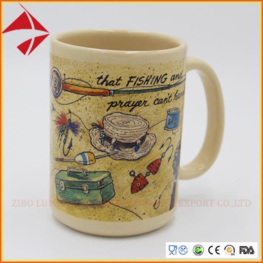 Wholesale Rim Color Sublimation Coffee Porcelain Mug/Porcelain Cup/Ceramic Coffee Mug with Gift