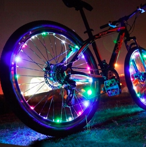 USB Colorful Charging Cycling Spoke Wire Tire Tyre Wheel LED Bright Light Bike Bicycle DIY Spoke Reflector Stripe Lights
