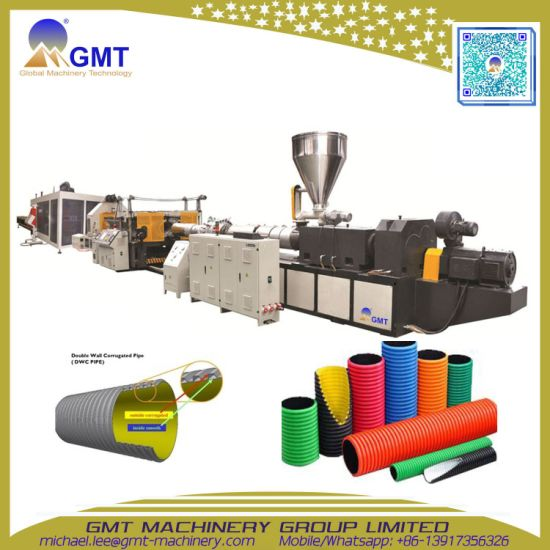 Plastic HDPE/PVC Double Wall Corrugated Pipe Extrusion Production Line pictures & photos