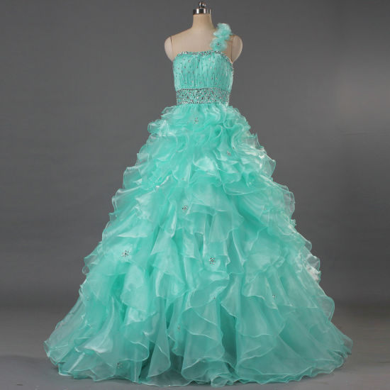 Junior Girls One Shoulder Prom Dresses Long Ruffle Organza Pageant Gown E355