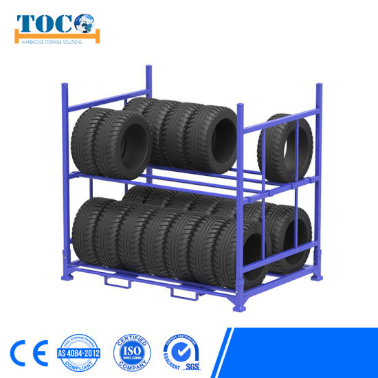 China Cheap Adjustable Durable Powder Coating Folding Tire Rack