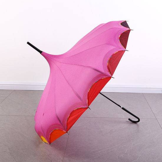 Long Handle Gothic Classical Windproof Tower Pagoda Rain Umbrella Pink