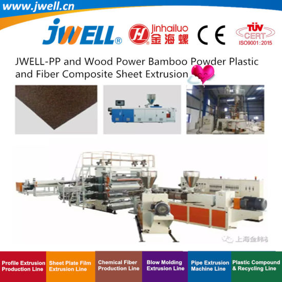 Jwell-PP and Wood Power Bamboo Powder Plastic and Fiber Composite Sheet Recycling Making Extruder Machine for Automobile Application Series (6)